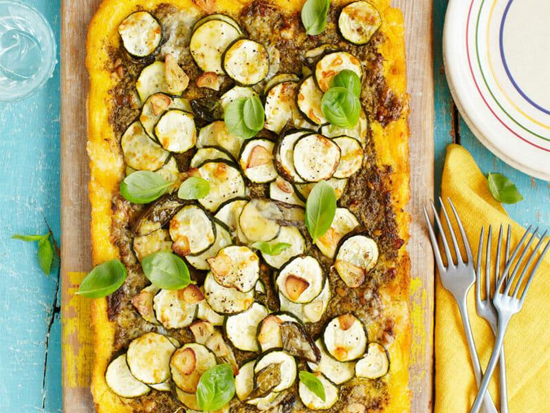 Polenta au pistou, tomates séchées et courgettes au Thermomix