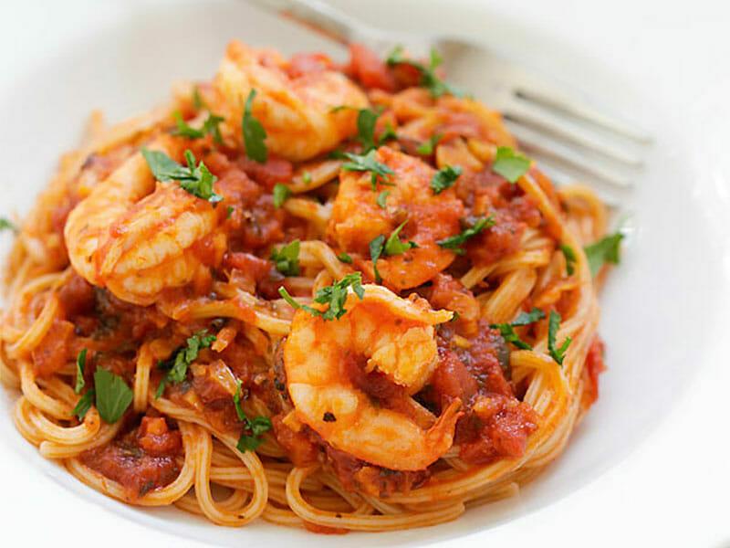 Spaghettis aux crevettes et à l'ail au Thermomix