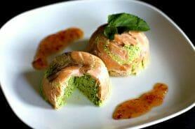 Timbales de courgettes et saumon fumé