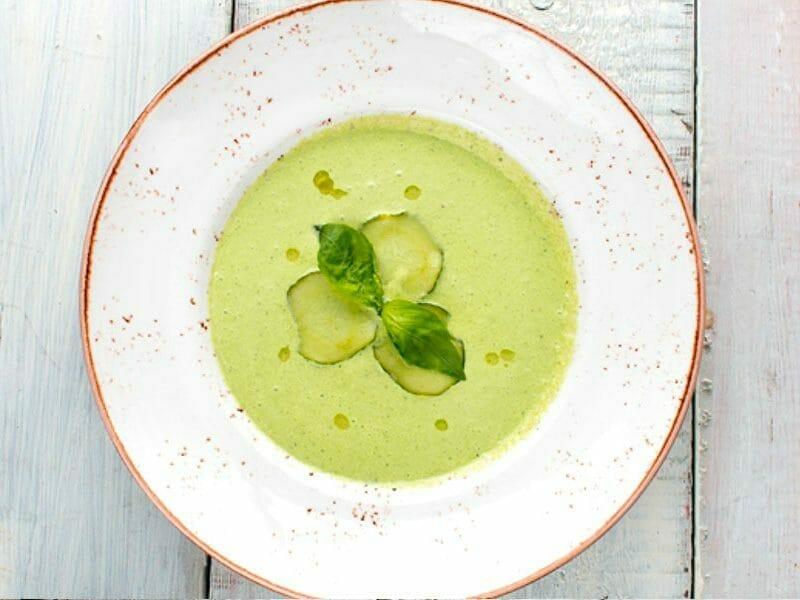 Soupe froide courgette et concombre au Thermomix