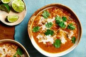 Soupe de lentilles corail, curry et coco au Thermomix