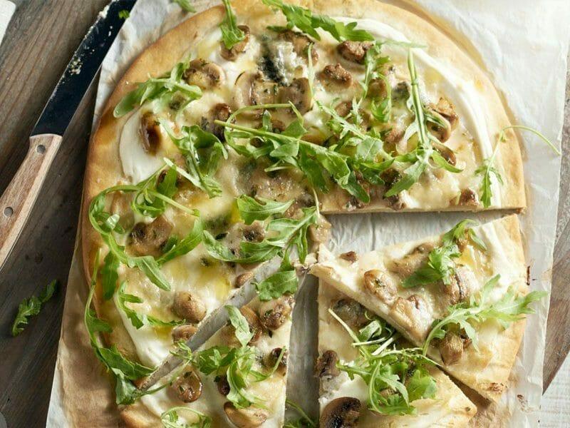 Pizza blanche aux champignons au Thermomix