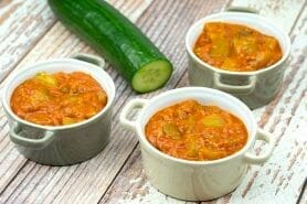 Concombre cuit lardons tomate paprika au Thermomix