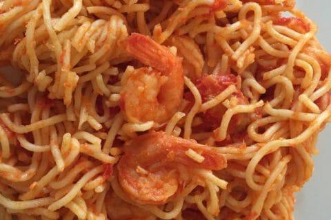 Spaghettis aux crevettes et à l'ail Thermomix par Titia974
