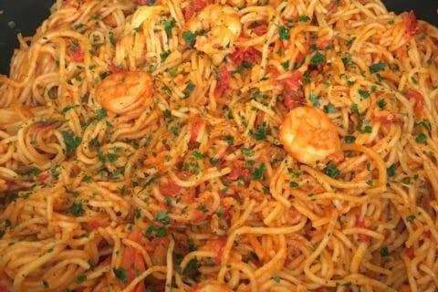 Spaghettis aux crevettes et à l'ail Thermomix par leava