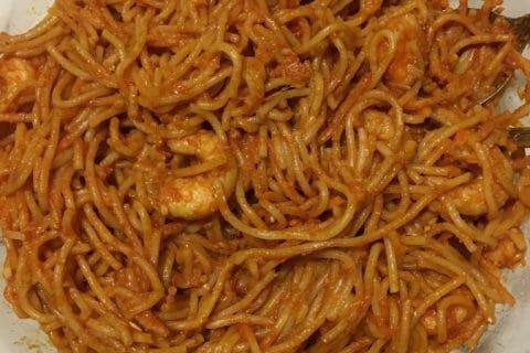 Spaghettis aux crevettes et à l'ail Thermomix par laptiterebelle