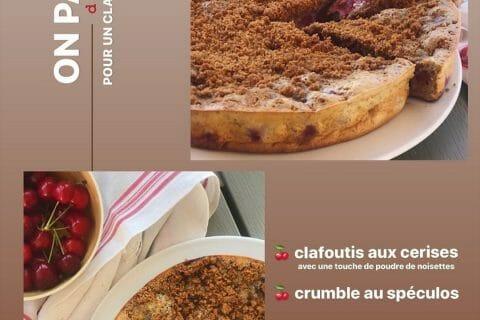 Clafoutis cerises, noisettes et crumble spéculoos au Thermomix