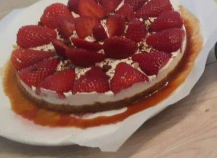 Tarte aux fraises sans cuisson Thermomix par Kryssou