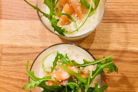 Verrine de mousse de chou-fleur et crevettes Thermomix par Stsoares
