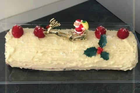 Bûche de Noël framboises et chocolat blanc Thermomix par Withermomix