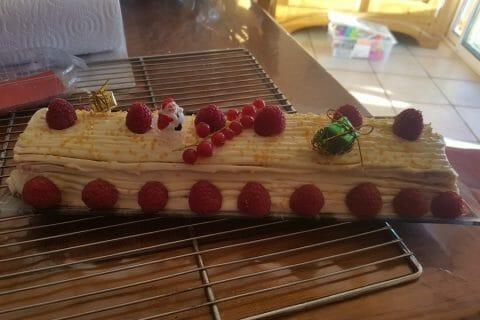 Bûche de Noël framboises et chocolat blanc Thermomix par Patg