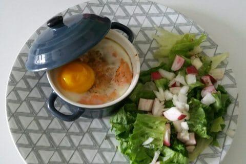 Oeufs cocotte poireaux et saumon fumé Thermomix par Adenium13