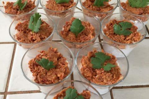 Verrines mousse de jambon et pesto de tomates confites au Thermomix