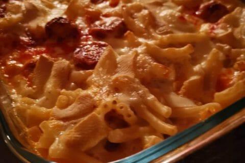 Gratin de macaroni reblochon et chorizo Thermomix par Delchouquette